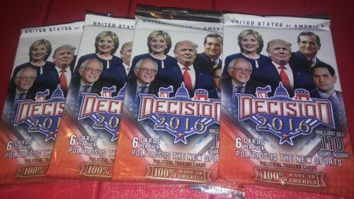 Decision 2016 Election Political (4) Blaster pack lot 6 cards ? Trump Clinton ?