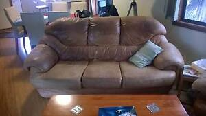 Leather Lounge Suite - Sofa + 2 Chairs Kirrawee Sutherland Area Preview