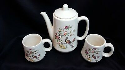 Design 24 Ounce Teapot -  Teapot And Cups (2) For Two - Floral And Bird Design (Teapot 24 oz.) Signed