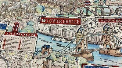 Ottoman Stoff ✓Leinenoptik ✓London Karte Zeichnung Hyde Park Tower  (London Kostüm Kinder)
