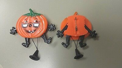 Vintage Plastic Mechanical Halloween Pumpkin jack o lantern Pin Brooch - Mechanical Halloween Decorations