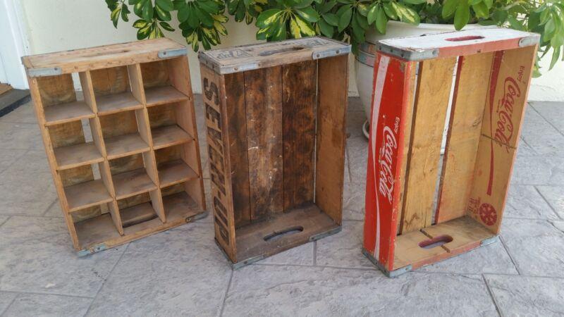 3 PEPSI 7-UP COCA-COLA WOOD BOTTLE CRATES