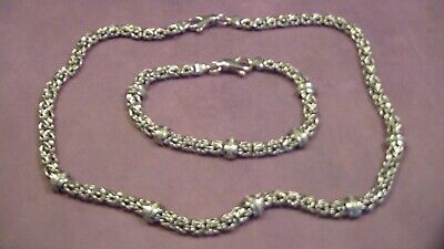 925 Italy Byzantine Diamond Accented Necklace Bracelet Set, 18