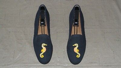 """SO CUTE! Women's $450 Stubbs and Wootton Canvas """"SEAHORSE Slippers Loafers Shoes for sale  Shipping to Canada"""