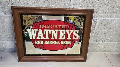 Vintage Imported Watney's Red Barrel Beer Mirror Sign Bar Decor Advertising