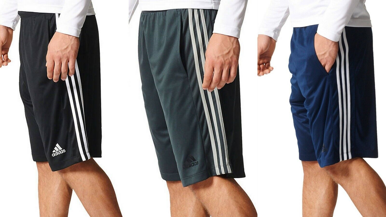 NEW adidas Mens Big & Tall  Climalite Shorts 3 Stripe Black/Gray/Navy