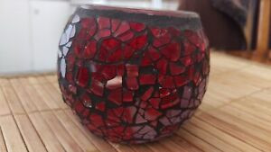 Candle Holder - red mosaic glass
