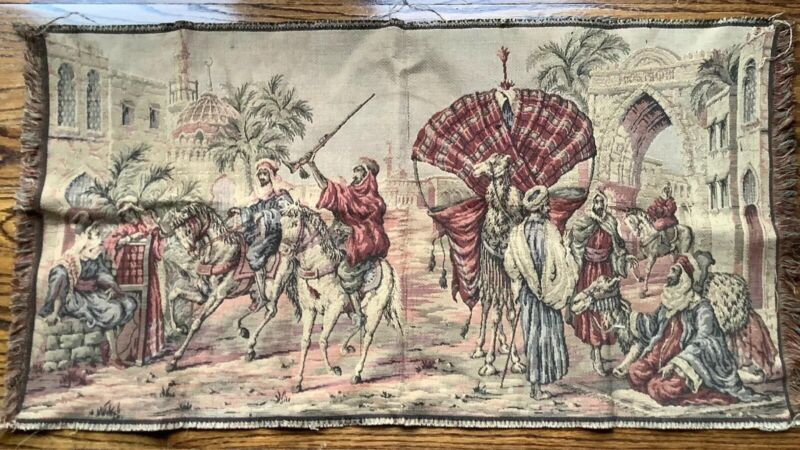Vintage Tapestry Arabian Middle Eastern Trader Rifle Camel Palm Tree Made Italy
