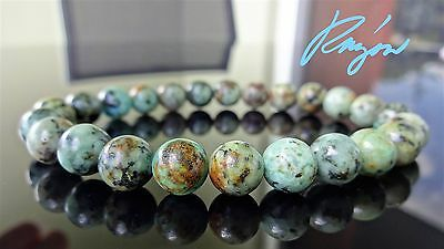 """AAA+ Genuine AFRICAN TURQUOISE Bead Bracelet for Men Stretch 8mm - 8"""" inch"""