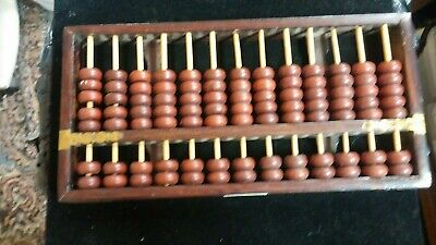 Vintage Diamond Chinese Abacus 13 Rods & 91 Wood Beads, Wood and Metal