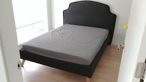 Modern grey double size bed with matress