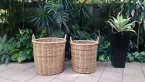 2 extra large cane baskets Merewether Newcastle Area Preview