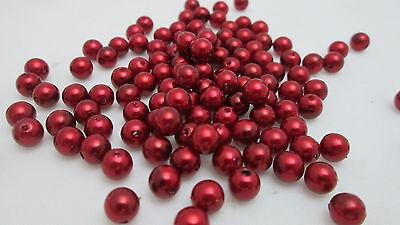 Darice 120 - 6mm Round Plastic Pearl Beads - Red