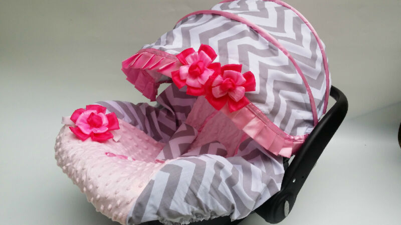 Chevron gray babypink infant car seat cover canopy cover fitMost infant car seat