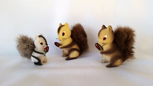 Set of 3 Vintage Flocked Squirrel Figurines- Fluffy Tail- Real Fur -Japan-NICE!!