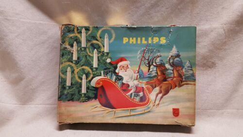 "VINTAGE PHILIPS 16 BULB CLEAR LIGHT SET MADE IN HOLLAND 4"" LONG C6 BULBS"