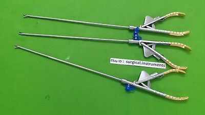 3pc Needle Holder 5mmx330mm Straight Jaw Curvd Jaw Laparoscopic Surgical