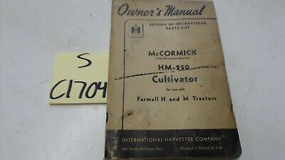 Mccormick Hm-250 Cultivator Owners Manual Parts List