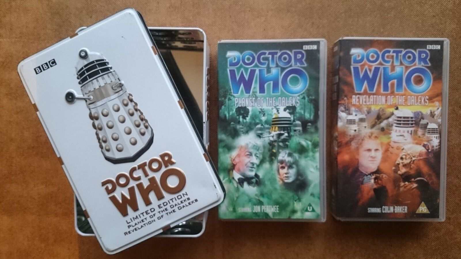 Doctor Who Planet of the Daleks (Tape Sealed) Revelation of the Daleks) Tin Set