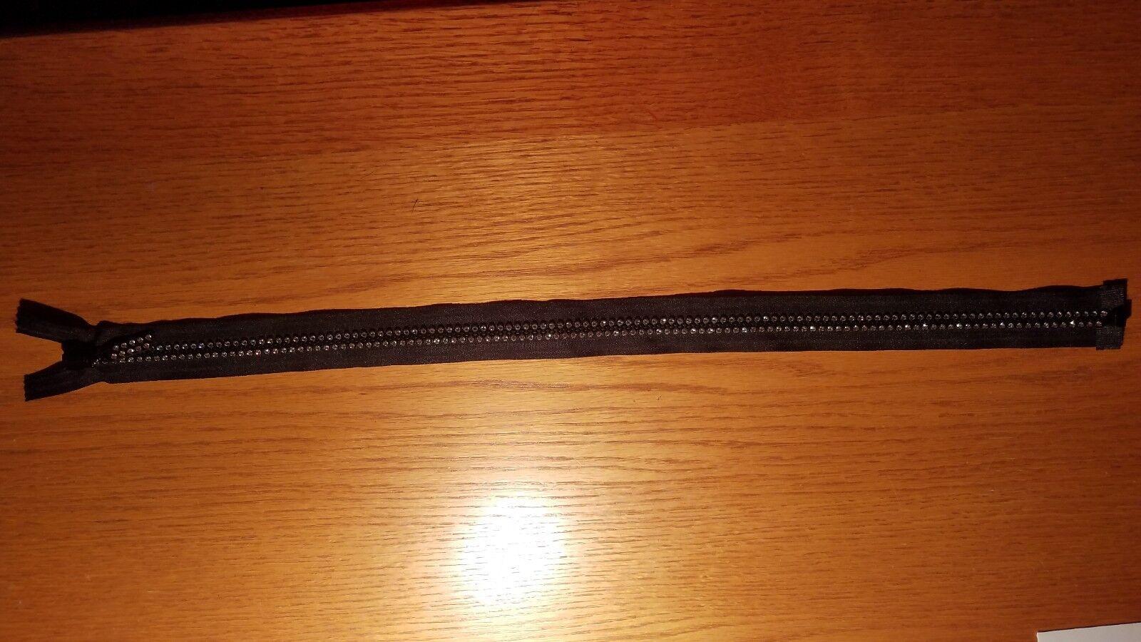 double rhinestone separating bottom zipper 18 white