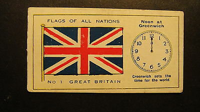 D C THOMSON Q PRIZE CARDS FLAGS OF ALL NATIONS No1 GREAT BRITAIN