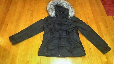 1 Madison Women's Coat Jacket Down/Waterfowl Puffer Black Medium Removable Hood