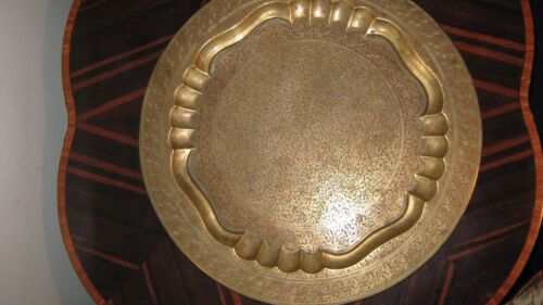 """Large Middle Eastern Brass and Enamel Tray 21"""""""