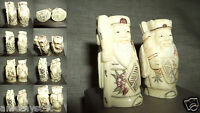 2 Nazuke Netsuke Statuina Scultura Holy Man Kimono Santone Osso Yak Bone China -  - ebay.it
