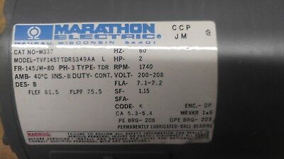 Marathon Electric A-c Motor Cat. No. M337 2hp Model 145ttdr5349