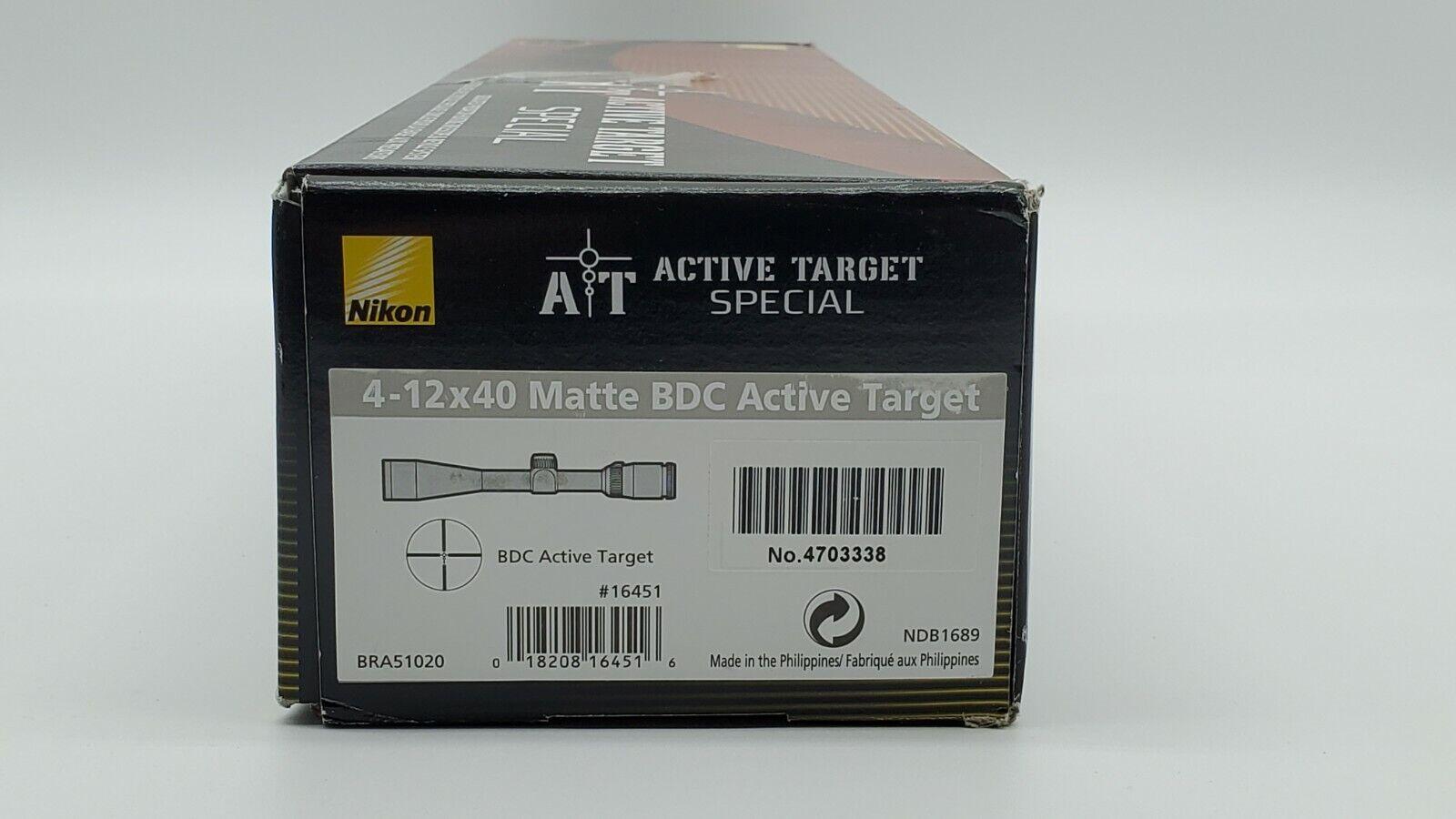 Nikon Active Target Special Rifle Scope - 4-12x40mm SFP BDC Predator 16451 - $219.99