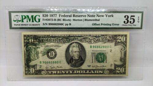 1977 $20 Federal Reserve Note New York PMG 35 EPQ Offset Printing Error -2072-B