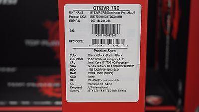 MSI GT62VR DOMINATOR PRO-238 15.6'' 7th Gen i7-7700HQ GTX1070 8G 16GB 256GB 1TB
