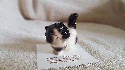Black & White Cat Figurine - Hagen Renaker Cat Persian Black & White Figurine Miniature Free Shipping 04097