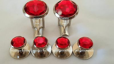 NEW Ruby Red Silver Tuxedo Shirt Studs Tux Cuff Links   Made in the USA  Tuxedo Shirt Studs