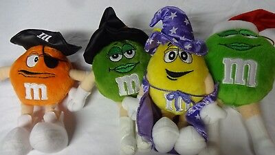 M&M Candy Brand Plush Little Characters Lot of 4 Pirate Wizzard Mrs Santa Dolls