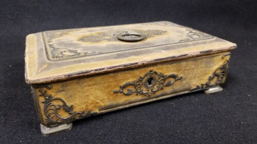 Early Antique Decorative Silver Bound with Velvet Covered Box