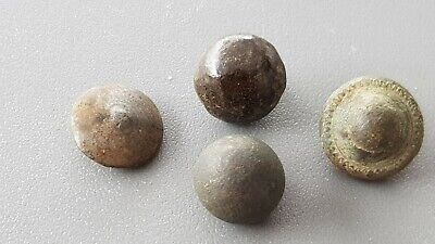 Lovely lot of four 15/16 hundreds copper alloy buttons uncleaned condition L119u