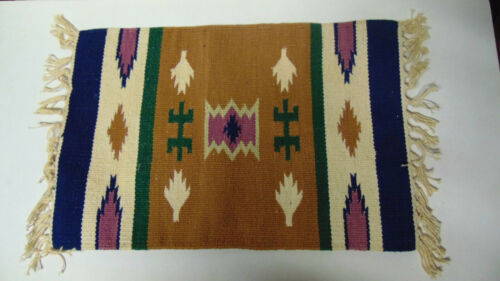 """Southwest Hand Woven 13x17"""" Small Rug Textile Old West Style"""