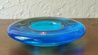 IITTALA Blue Art Glass Tealight Candle Holder Finland