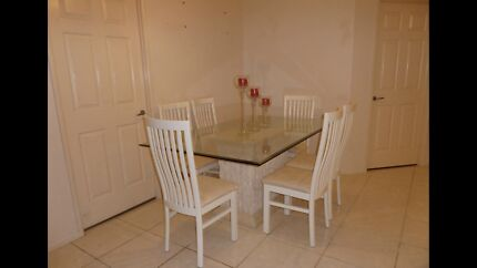FOSSIL STONE DINING TABLE GLASS TOP WITH 6 CHAIRS GREAT CONDITION