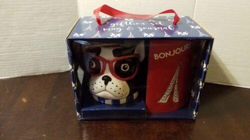 FRENCH BULL DOG MUG & JOURNAL GIFT BOX SET - NEW