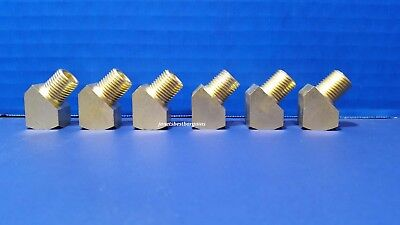 "Solid Brass Street Pipe 45 Degree Elbow 1/4"" Male Female NPT Air Fuel Water 6 PK"