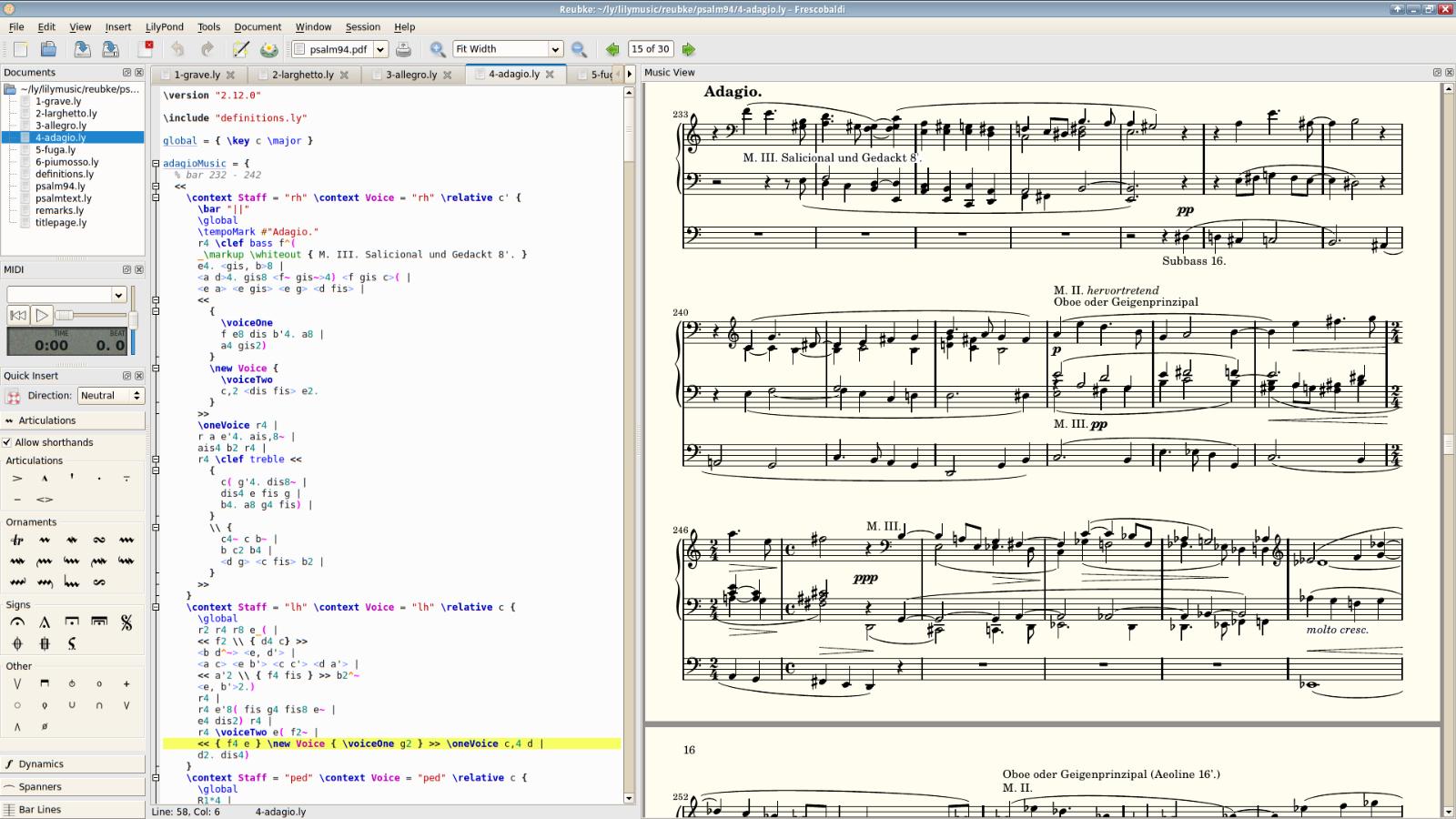 Frescobaldi (LilyPond Sheet Music Text Editor Software) Windows/Mac CD