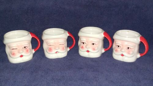 Set of four vintage Santa Claus Christmas porcelain cups Japan