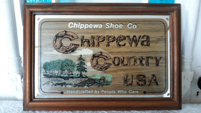 Vintage Chippewa Shoe Co Chippewa Country USA Advertising Sign Handcrafted Shoes