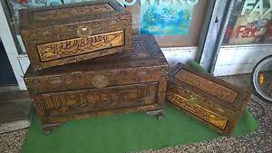 Hand carved wooden glory boxes / chests Inala Brisbane South West Preview