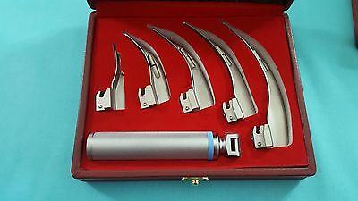 Set Of 5 Laryngoscope Macintosh Mac Intubation Blades Medium Handle Anesthesia