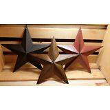 "8"" Metal Barn Stars, Set of 3 - Black, Burgundy, Rusty ~ Primitive, Country"