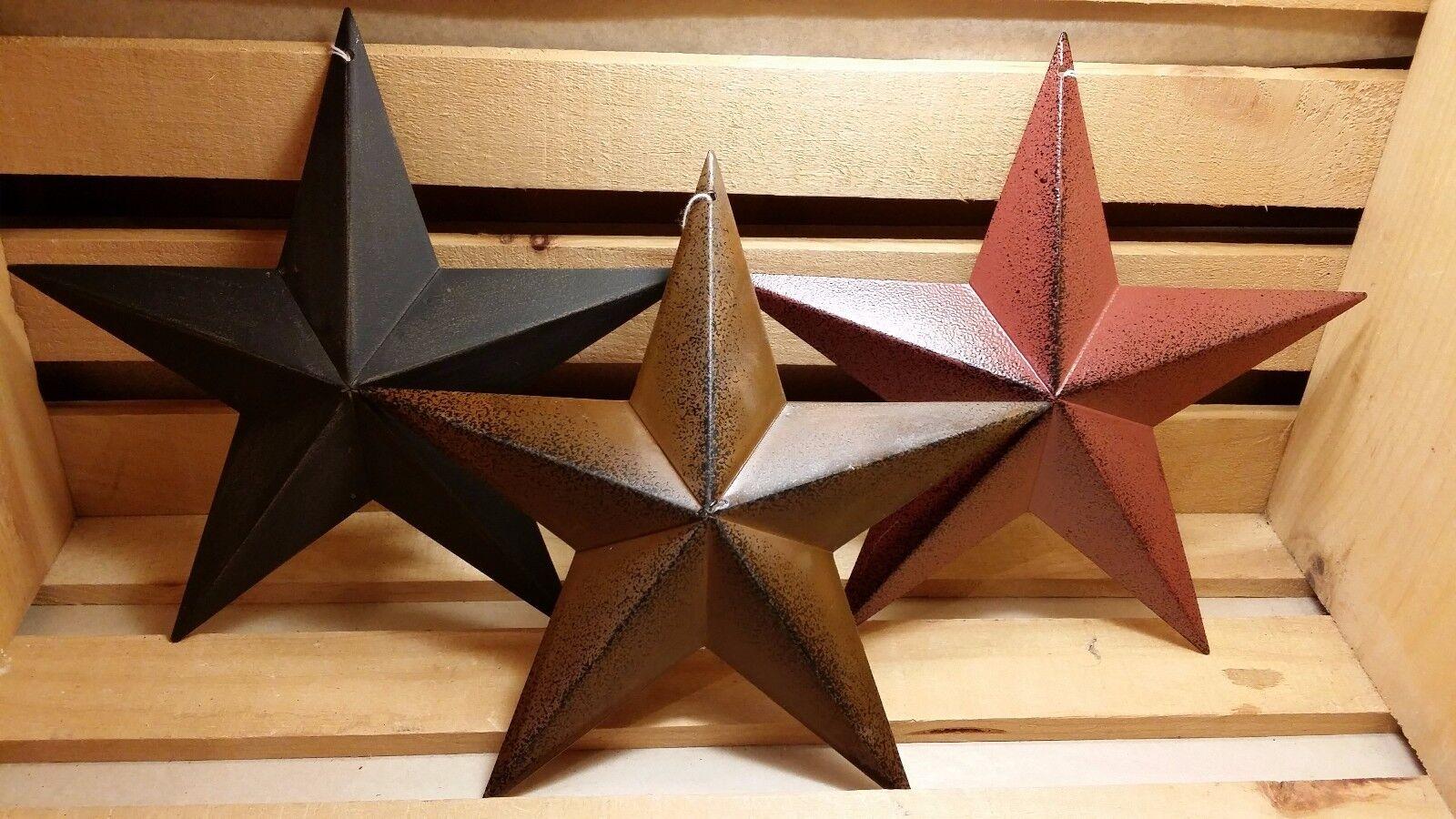 Купить 8 Metal Barn Stars, Set of 3 - Black, Burgundy, Rusty ~ Primitive, Country