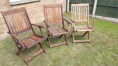 Winchester  Collection - 3 Hard Wood Folding Arm Chairs